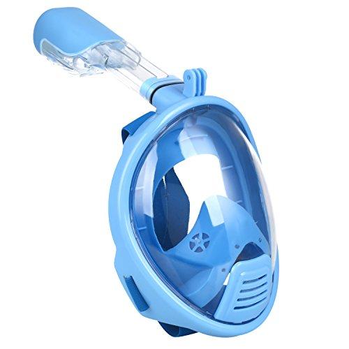 Das Leben Tauchmaske, vollmaske mit 180 Grad Blickfeld für Erwachsene und Kinder, gegen Dunst (Blau, XS (Kinder))