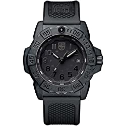 Luminox new NavySEAL carbon compound 3500 series Watch with carbon compound Case Black|Black Dial and PU Black Strap XS.3501.BO