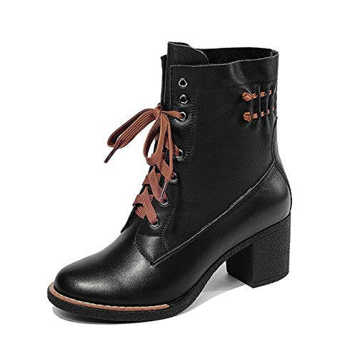 QPDUBB Ankle boots Motorcycle Women Ankle Boots Round Toe Lace Up Footwear High Heels Female Boot Cow Leather Shoes Woman