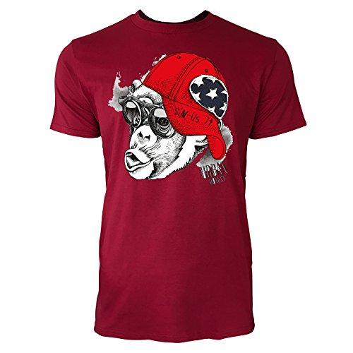 Sinus Art ® Herren T Shirt Urban Monkey ( Independence_Red ) Crewneck Tee with Frontartwork