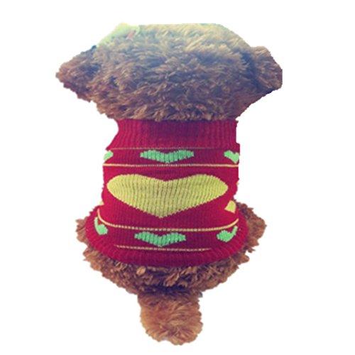 , ღ ღ Strickpullover Winter Warm Pullover Puppy Coat Kleidung Kostüm Casual Small Red 7 ()