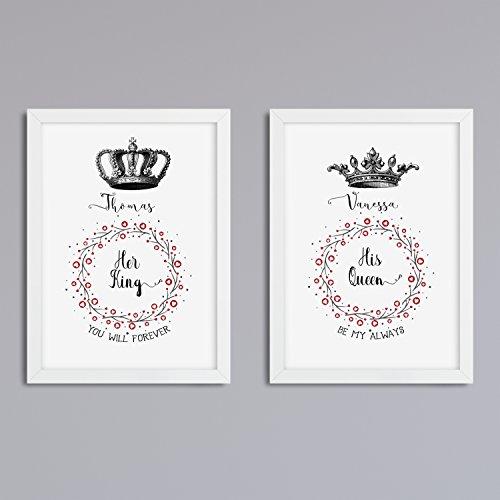 'Her King His Queen' 2er Set Druck ohne Rahmen