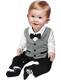 El bebé ropa de la blusa, RETUROM Tan Hermoso BebÉ Formal Del Partido Del Bautizo De La Boda Del Smoking De La Pajarita El Chaleco 0-24 M Traje