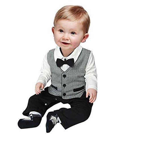 El bebé ropa de la blusa, RETUROM Tan Hermoso BebÉ Formal Del Partido Del Bautizo De La Boda Del Smoking De La Pajarita El Chaleco 0-24 M Traje (80)