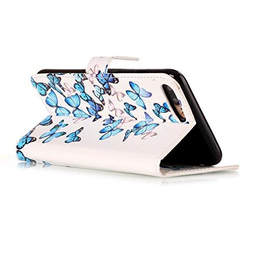 Custodia iPhone 7 Plus,iPhone 7 Plus Custodia in pelle,Felfy Belle Colorato Dipinto Elegante Lusso Rigida Fantasia Design Stand Flip PU pelle Portafoglio/Wallet Cuoio/Libro Bookstyle Leather Case per  Farfalla Blu