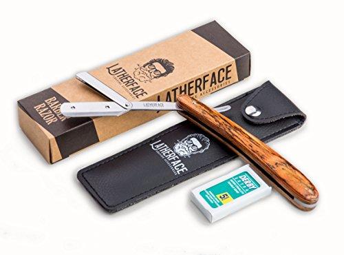 Latherface Barber Razor - Rasiermesser für Wechselklingen mit Holzgriff - Set inklusive Derby-Rasierklingen und Etui - Ideal ob Anfänger oder Barbier