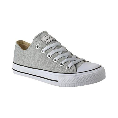 Elara Unisex Sneaker | Bequeme Sportschuhe für Damen und Herren | Low Top Turnschuh Textil Schuhe 36-46 01-A-Grau-43