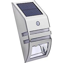 Gazechimp Wand Solar Außenleuchte mit Bewegungsmelder Außenlampe Sensor Bewegungssensor Infrarot Hoflampe Gartenlampe Gartenleuchte , Wandstrahler, Wandleuchten, Nachtlicht - Silber Warm Weiß