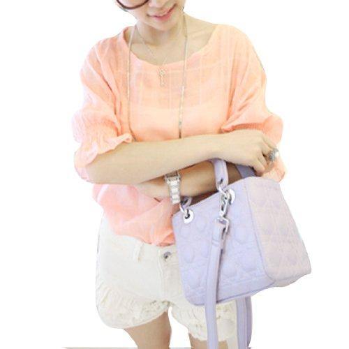 6330 Damen Knopf Rücken Rundhals Freizeit Dehnbar Hemd Rosa