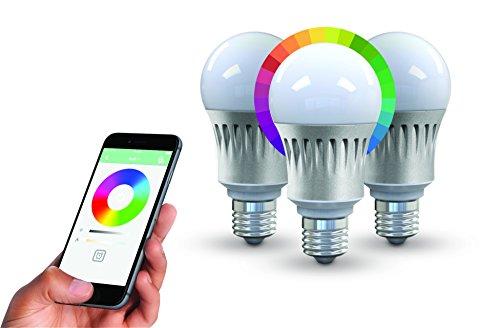 NIKKEI LUXXUS NCL302E27 | Set von drei Stück 9W E27 Multi Farbe Smart LED Wi-Fi Lampen, Dimmbar, Ersatz für 60W Glühbirnen, 810lm, Steuerbar via App, Einstellung der Szene, intelligentes Leben, wählen Sie zuerst Smart Home [Energieklasse A+] -