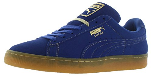 Puma Suede Classic Blue Black Mens Trainers Surft The Web/Metallic Gold