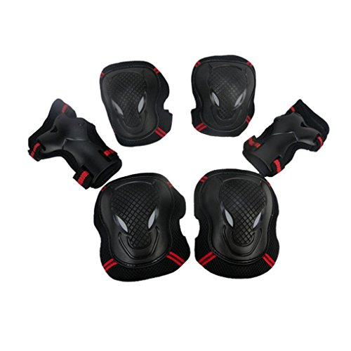 BBring BMX Bike Knee Pads and Elbow Pads Wrist Guards Sports Protective Gear Safety Pad Safeguard Protective Gear Set for Biking, Riding, Cycling and Multi Sports Safety (Red-L)