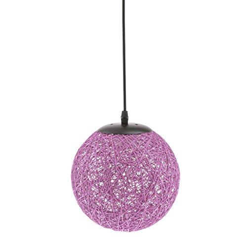Gazechimp 20CM Lámpara de Techo Diseño con Bola de Tela Tejida de Mimbre de Hierro + Bambú Rattan Accesorio Decorativo de Cafetería de Hogar - púrpura