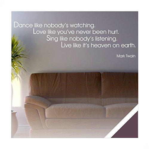 Exklusivpro Wandtattoo Wand-Spruch Dance Love Sing Live (Mark Twain) inkl. Rakel (zit21 aubergine) 180 x 38cm mit Farb- u. Größenauswahl (Auberginen Live)