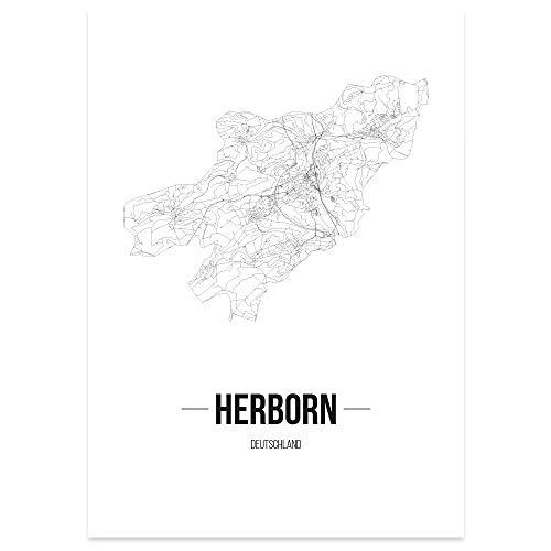 JUNIWORDS Stadtposter, Herborn, Wähle eine Größe, 40 x 60 cm, Poster, Schrift B, Weiß