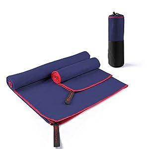 MAVE ATHLETIC ® Doppelpack Mikrofaser Handtuch Reise-Handtuch Sport-Handtuch EXTRA leicht, schnelltrocknend, antibakteriell (Navy)