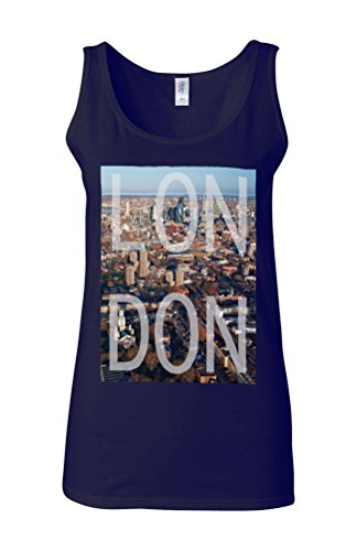 London East London UK Big Ben Novelty White Femme Women Tricot de Corps Tank Top Vest Bleu Foncé