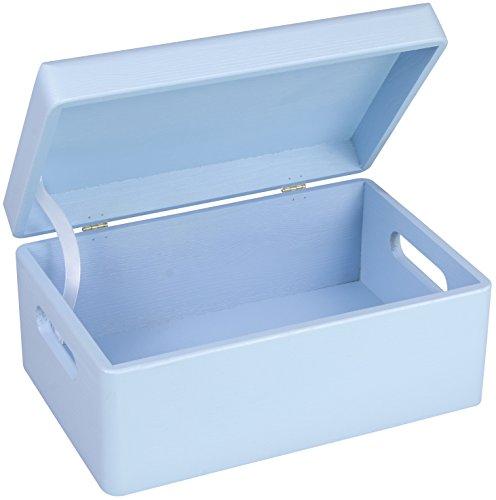 LAUBLUST Holzkiste zur Geburt Größe M - Kiefer Blau ca. 30 x 20 x 14 cm - Baby Erinnerungskiste mit Griffen - Runde Kanten und Deckel aus Vollholz