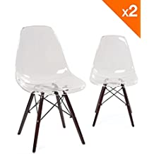 kayelles chaises scandinave transparent neo lot de 2 chaises dsw transparent - Chaises Scandinaves Transparentes