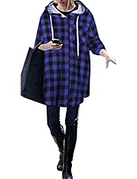 Mujer Sudadera Bolsillos Enrejado Botones Manga Larga Chaqueta Hoodies Pullover