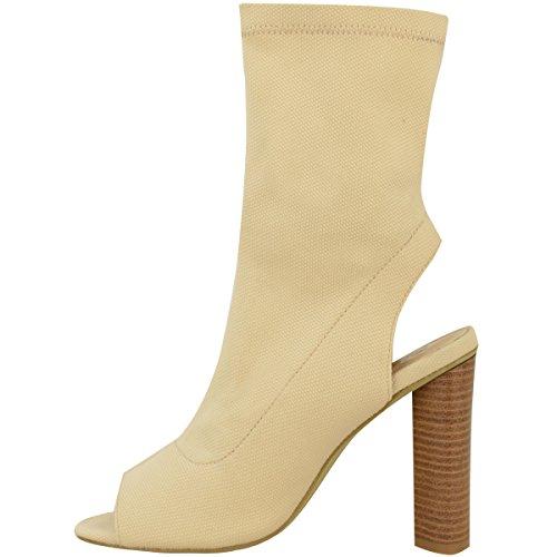 Femmes Mesdames Bottines Tricot Extensible Célébrité Talon Bloc Escarpin Bout Ouvert Taille Clair Couleur Chair Tricot