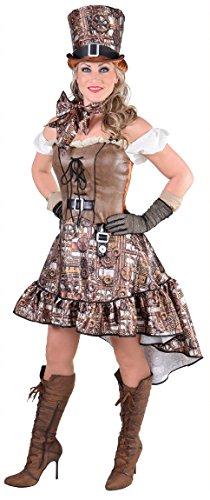 M217111-L braun mit Zahnräder Damen Steampunk Kostüm-Kleid Gr.L
