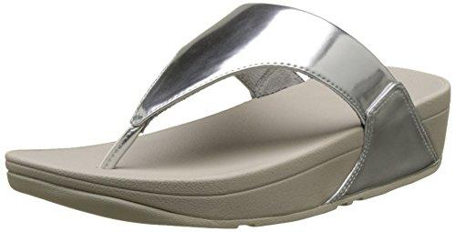 Fitflop Lulu Toe-Thong Sandals-Mirror, Sandali Punta Aperta Donna, Argento (Silver 300), 42 EU