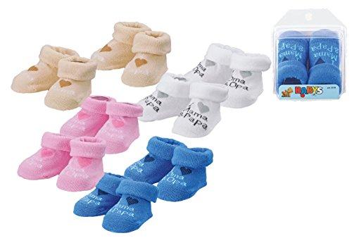 Baby Mädchen Jungen Erstlings Söckchen Strümpfe Sneaker Socken für 0-5 Monate in Geschenkbox Weiß Mama Papa