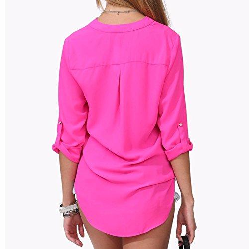 QIYUN.Z Art Und Weise V-Ausschnitt Roll-Up Lange Hülse Frauen Chiffon- Hemden Bluse Größe M-6XL Rosarot