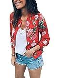 Minetom Damen Frühling Blouson Mode Floral Baseball Mantel Tops Coat Bomberjacke Bikerjacke Reißverschluss Fliegerjacke Kurzjacke 01 Rot DE 40