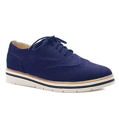 Rioneo Damen Schnürschuhe Oxford Schuhe Feminine Brogues Flache Freizeit Vintage Schnürer Schuhe Schwarz Pink Grau Blau Brown 35-43 Blau 39