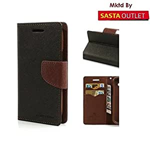Wellcare Mercury Goospery FANCY Diary Card Wallet CASE Flip Cover for Samsung Galaxy Core Prime G360-Black&Brown