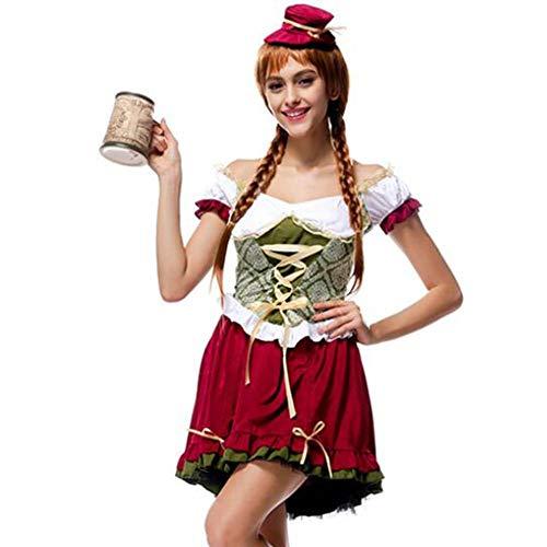 Oktoberfest Girl Kostüm - ASDF Oktoberfest Halloween Tracht Bar Girl Kellner Kostüm Uniform Set