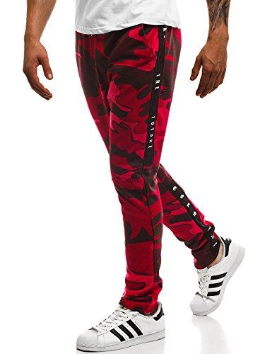 OZONEE Herren Jogg Hose Sporthose Jogginghose Fitness Camouflage Trainingshose Freizeithose Jogger B/181664 ROT S