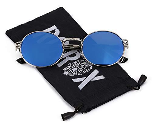 Ro Rox Gafas de Sol Steampunk Retro de las Señoras y Hombres - Azul - Plateado