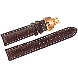 18mm Brown Luxury Replacement Leather Watch Straps/Bands Handmade with White Stitching for High-end Watches with Rose Gold Deployment Clasp