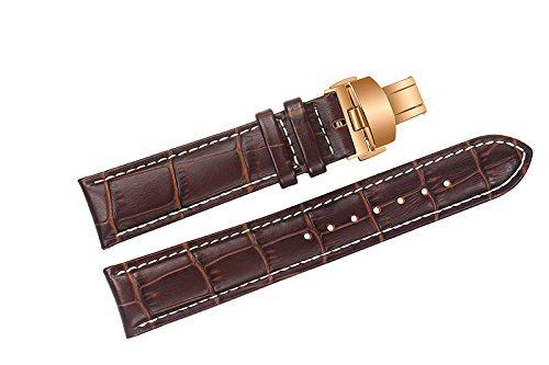 20 mm cinturini in pelle di lusso sostituzione marrone / fasce a mano con cuciture a contrasto bianco per i marchi di fascia alta con chiusura di distribuzione in oro rosa
