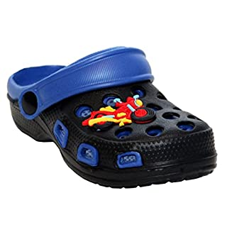 A&H Footwear Boys Girls Unisex Kids Youth Infants Slip On EVA Beach Summer Sandals Mules Garden Clogs UK Sizes 4-2 (UK 5 Infant, Black/Navy (Bike))