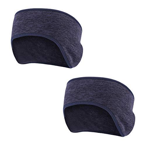 AYPOW Winter Stirnband Ohr wärmer,leichte warme Fleece Material Full Cover Ohrenschützer Sport Schweißband Multifunktions Stirnbänder für Erwachsene Männer und Frauen(2 Pack - Königsblau)