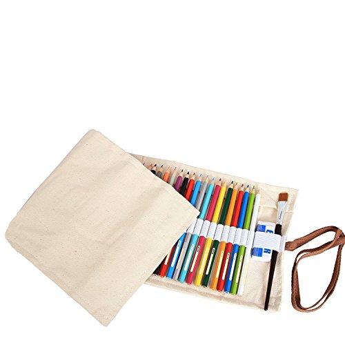 Amoyie Wrap Leinwand Stifterolle für 72 Buntstifte und Bleistifte Stifteetui Roll-up Mäppchen für Künstler, Verpackung Mehrzwecktasche für Reisen / Schule / Büro / Kunst (keine Schreibzeuge im Lieferumfang), Weiß (Kunst-schubladen)