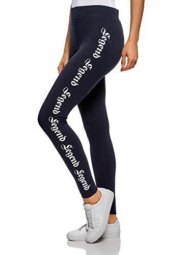 oodji Ultra Damen Leggings mit Druck, Blau, DE 34 / EU 36 / XS Dot Print Legging