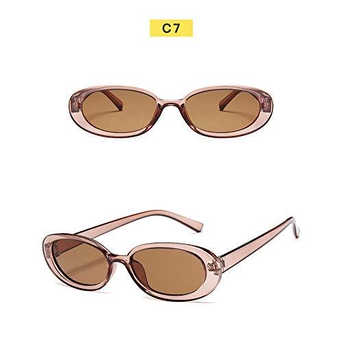 Wang-RX Sonnenbrille Frauen kleiner Rahmen ovale Sonnenbrille Paar Travel Party Sonnenbrille Uv400