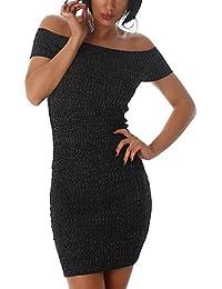 Jela London Damen Sommerkleid Stretchkleid Streifen-Optik Cocktail Carmen-Ausschnitt  Slim-Fit ( 06a43bc2c7