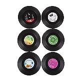 BeeWit Für Discs Abziehbild-Aufkleber Retro-Musik-Kunst Auto-Bar-Untersetzer Tischset Für Getr?nke-Untersetzer Tee Tankard Bierflasche Trinken Absorbent für Weinglas Gummimatte für Tasse Schwarz