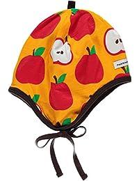 MAXOMORRA Mädchen Mütze Orange Apfel Bändchen BioBaumwolle GOTS