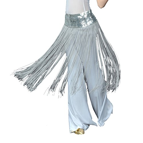 YuanDian Damen Bauchtanz Verpackungs Hüfte Schal Gurt Schal Hüfttuch Elastische Paillette Lange Fransen Orientalischer ägyptischer Arabischer Tanz Kostüm Zusätze Silbergrau