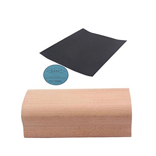 rosenice Block für Schleifbürste Holz Schleifmaschine Nivellierung Bünde Gitarrenbauer Werkzeug für Bassgitarre 12Zoll