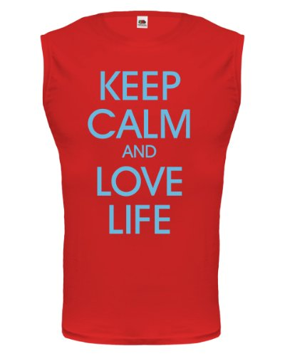 buXsbaum® Tank Top Keep calm and love life Red-Skyblue