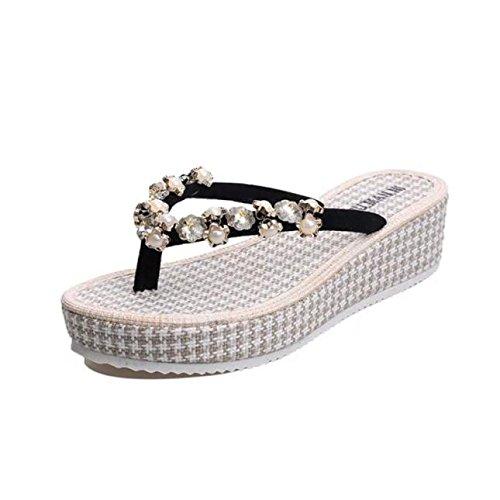 Ouneed® Flip Flops Damen Erwachsene Zehentrenner , Damen Sommer flachen Flip Flops Sandalen Slipper Böhmen Schuhe Schwarz