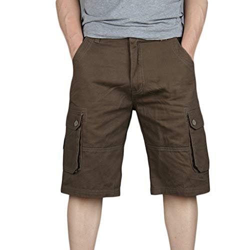 UJUNAOR Cargo Hose 3/4 Herren Bermuda Shorts Multi Tasche Army Sommer Kurze Freizeithose Baumwolle Gummibund Lässig(Kaffee,30)